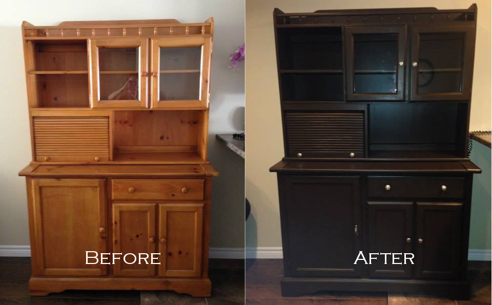China cabinet before and after painting