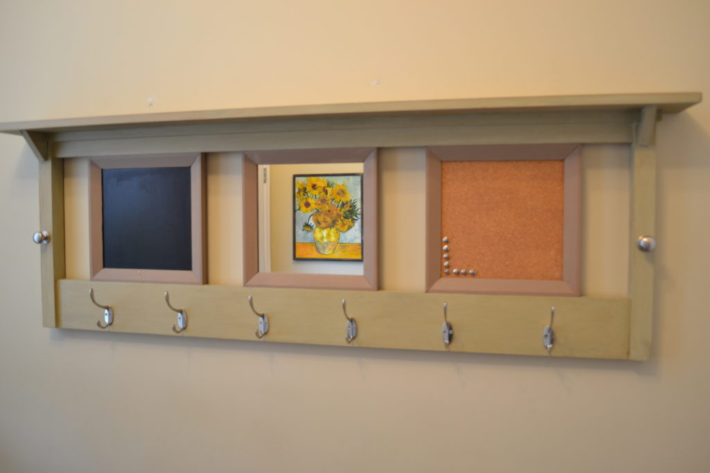 Upcycled headboard message centre
