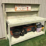 handmade wooden potting bench